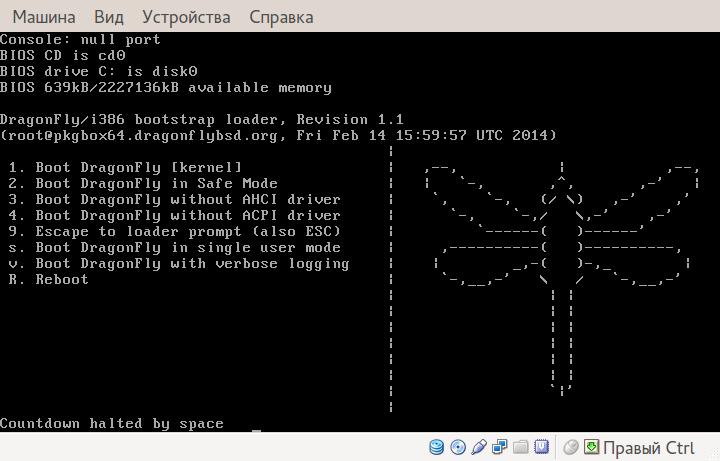 DragonFlyBSD. Стандартная установка