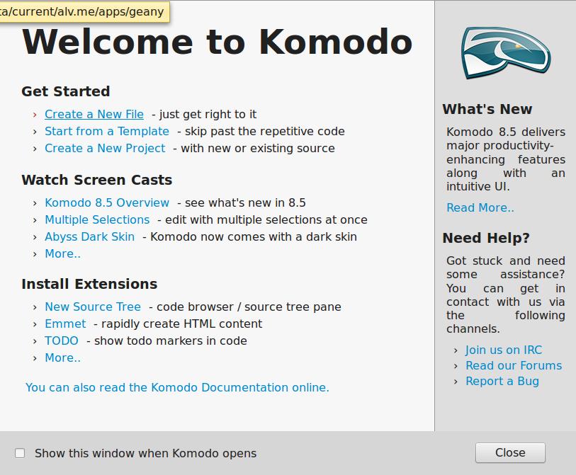 Komodo Editor. Первые впечатления