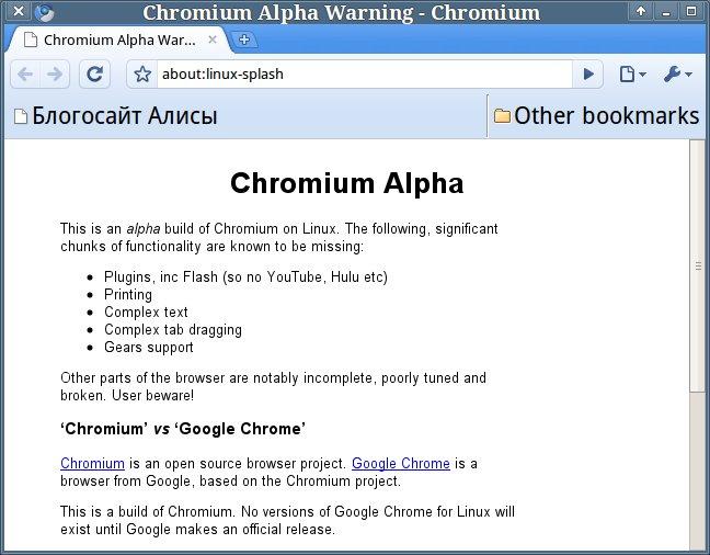Chromium для Linux: первые впечатления